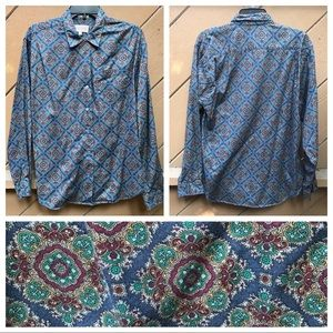 Vintage 80s Navy Blue Paisley Button Down Shirt